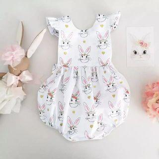 ✔️STOCK - SWEET BUNNY PRINT WHITE ONESIE ROMPER NEWBORN TODDLER BABY GIRLS ONE KIDS CHILDREN CLOTHING