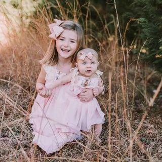 ✔️STOCK - BROWN RABBIT HARE PASTEL PINK STRAP FLARE DRESS NEWBORN TODDLER BABY GIRLS ONE KIDS CHILDREN CLOTHING