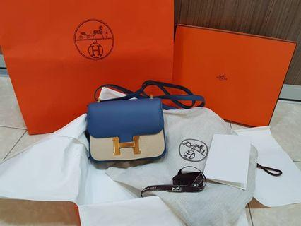 Hermes Constance 18 Blue Agate Swift GHW