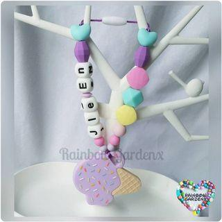 Handmade Lilac Ice cream teether with customised name + beads carrier accessory
