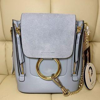 Paradiso Pastel Blue Suede Backpack / Shoulder strap handbag with Metal Ring