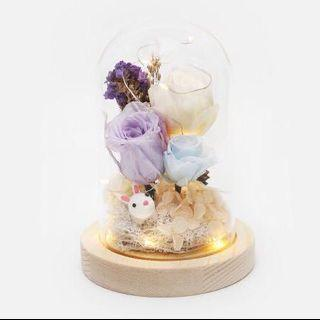 🚚 Preserved Flower Bell Jar with Bunny