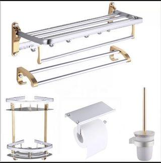 Silver-and-Gold Toilet accessories(tower rack, toilet paper holder)