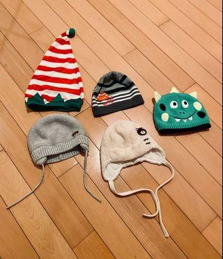 Set of 5 boys warm hot hats for winter