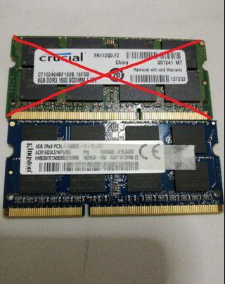 Laptop Ram Kingston 8gb ddr3 1600mhz