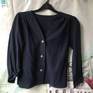 Navy Buttons Top