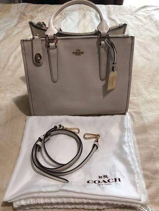 COACH Double Zippers Hand Bag 100% Authentic
