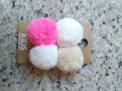 🚚 New Cotton on Pom pom snap hairclip pair