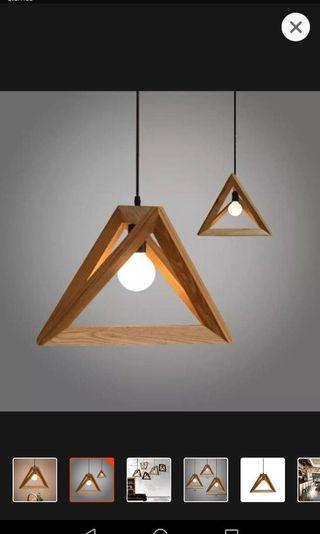 Triangle pendant wooden lights