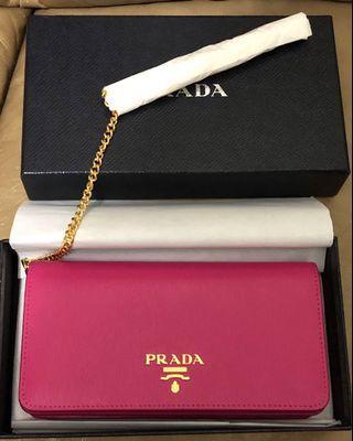 Prada wallet on chain woc 桃紅手袋 + 銀包 (100% real, 100% new)!