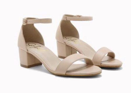 SoFab! Nude Block Heels Sandals