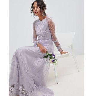 英國ASOS設計薰衣草色長袖洋裝禮服(結婚,晚宴,婚紗)
