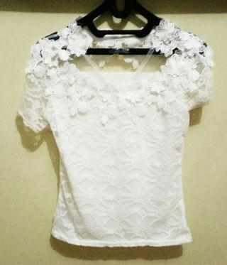 #BAPAU White Lace Top ukuran kecil