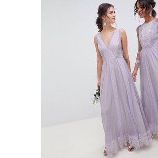 英國ASOS設計薰衣草色無袖洋裝禮服(結婚,晚宴,婚紗)