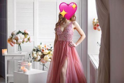 Pinkish Slit Prom Dress