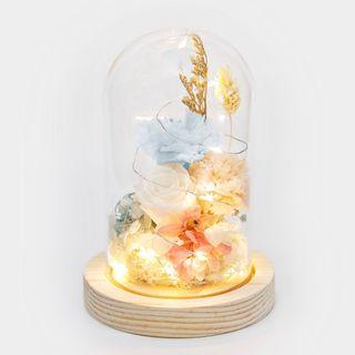 🚚 Preserved Flower Bell Jar with Fairy Lights | Mother's Day Gift