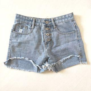 Denim High Waist Shorts with Front & Back Pockets, Size S