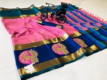 Pure Silk Cotton saree with grand work