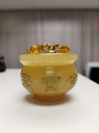 迷你黄玉聚宝盆. Mini yellow jade wealth bowl