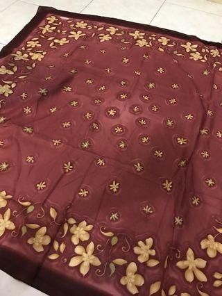 Silky square scarf