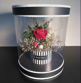 Eternal preserved red rose round flower box
