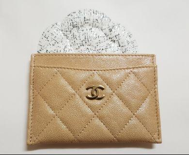 Chanel 19S Beige Iridescent Classic Flat Card Holder