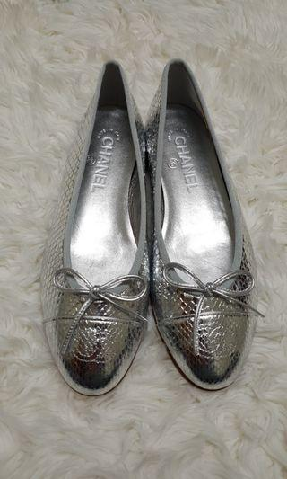 🐍 Chanel Python Silver Ballet Flats Size 38C
