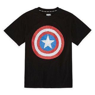 🚚 BNWT Marvel Avengers Captain America Flip Sequin Tee 8