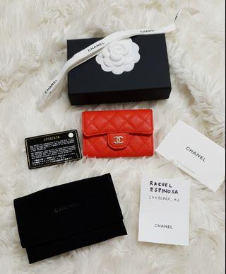 Chanel 19S Red Orange Snap Card Holder in Caviar Leather with SHW
