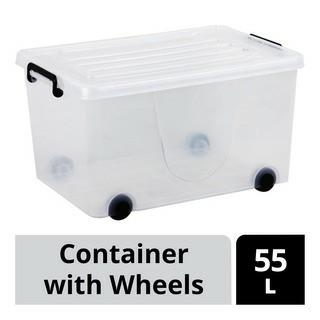 Large transparent container 55L with wheel storage box