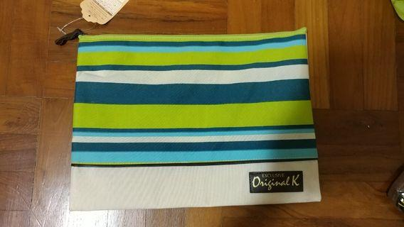 Fabric case A4 document bag pouch with zip green blue stripes