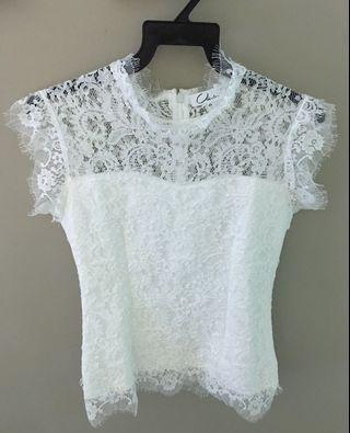 White TOP (Lace Fabric Design)