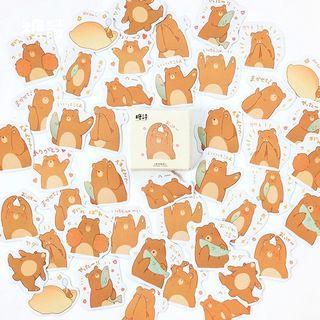 "[INSTOCKS] Cute ""Grizz"" Bear BUJO Stickers (45pcs)"