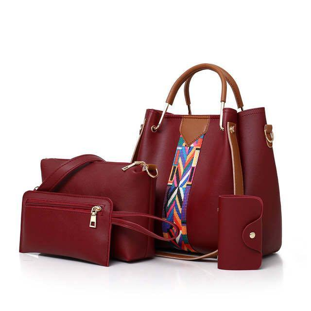 2019 Women Messenger Bags For Ladies Handbag Fashion Shoulder Bag Lady PU Leather Casual Female wristlets sac a main Set 4 Pcs