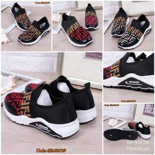 Sepatu Wanita Sneakers Fendi Rush RR-9017# Size : 36-40 Quality : Semi Premium Material : Kain + PU Leather Color : Apricot, Coffee, Red Weight : 700 grams  Size Insole :