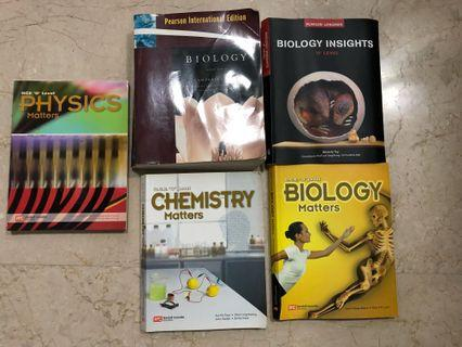 🚚 O Level Biology, Physics and Chemistry textbooks