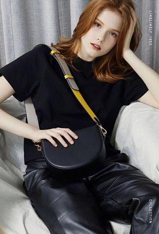 Semicircle Colour Block Crossbody Saddle Bag