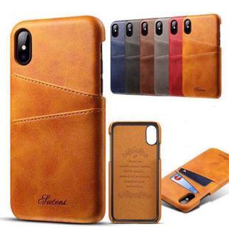 🚚 IPhone X/XS Hard Case Calf Leather 2 Cards Slots