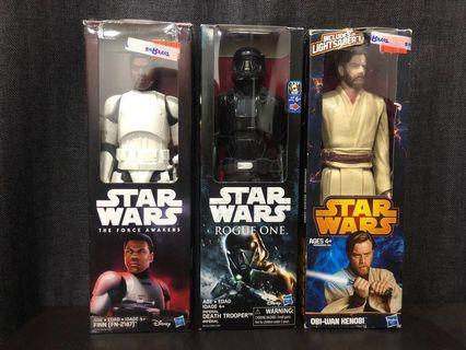 3 Star Wars Figures (Finn, Obi-Wan Kenobi, Death Trooper)