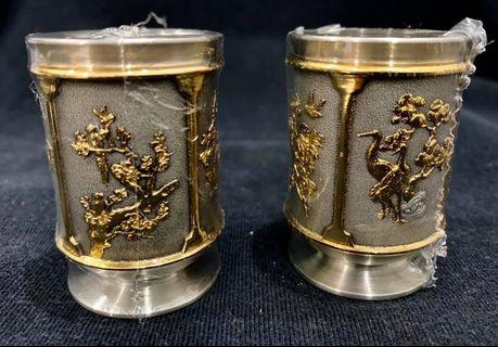 Genuine pewter with 24k gold plated tea cups