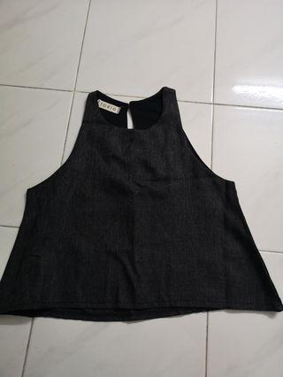 Sleeveless linen tops(Black)