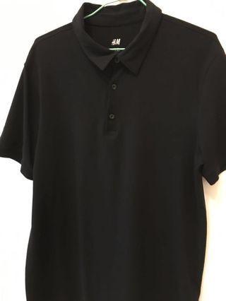 🚚 H&M 黑色彈性polo衫全新品