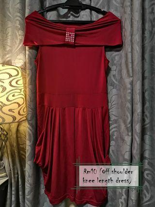Off shoulder knee length red dress