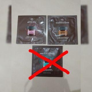 ($3一包,共6包 玫瑰×3 /咖啡×3) Body Shop 面膜 咖啡 玫瑰 清潔 保濕 mask