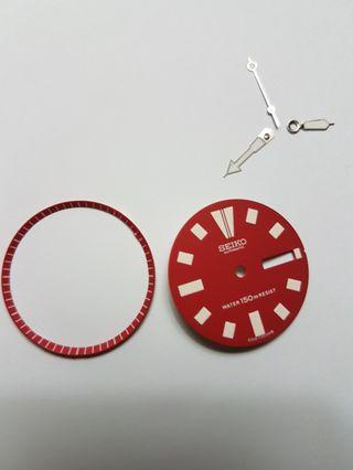 Dial(maroon color) and Hands For Seiko Men Diver 6309-7290 or 6309-729A.