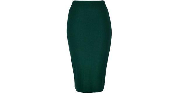 Topshop green pencil skirt