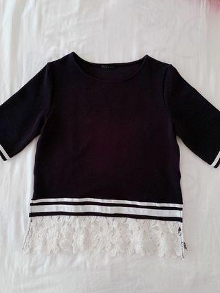 🚚 #學院風蕾絲拼接上衣短袖女生