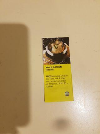 Seoul Garden Hotpot Free Marinated Chicken Hot Plate