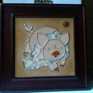 Wall Plaque  -  Handpainted  Ceramic Artwork  - Pig Motif