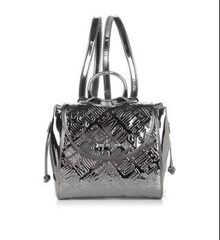 LOVE MOSCHINO Embossed Metallic Silver BagPack